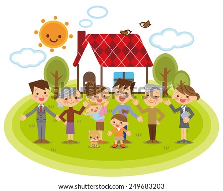 Family and Businessman - stock vector