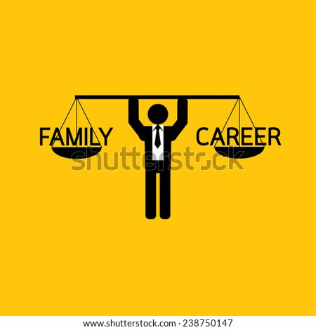 family and career icon : businessman carry balance family and career : business concept on yellow background - stock vector