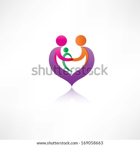 Family and heart icon - stock vector