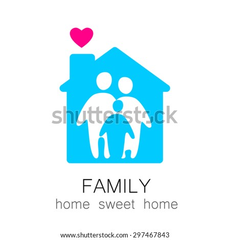 Family and home concept. Silhouette family icon and house.  - stock vector