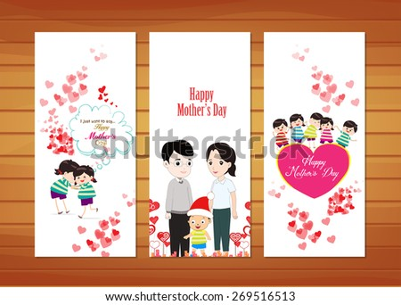 family and kids Mother's Day Cards - stock vector