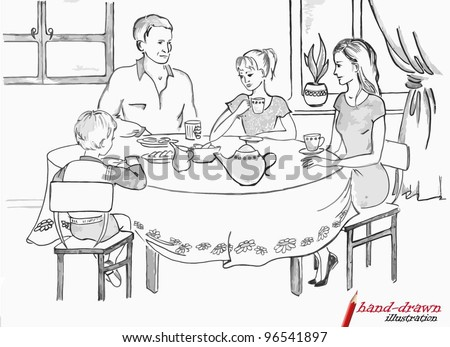 family at dinner table - hand-drawn illustration - stock vector