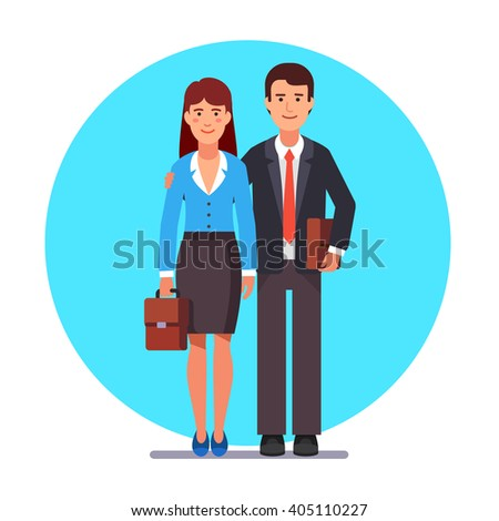 Family business couple standing together man hugging woman shoulder. Flat style vector illustration. - stock vector