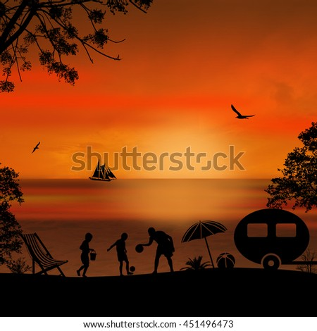 Family camping on beautiful campsite  on the beach at sunset, vector illustration - stock vector