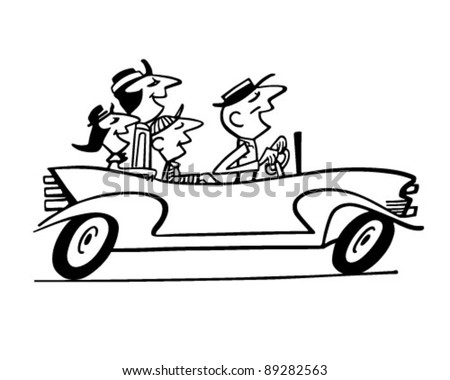 Family Car Ride 2 - Retro Clipart Illustration - stock vector
