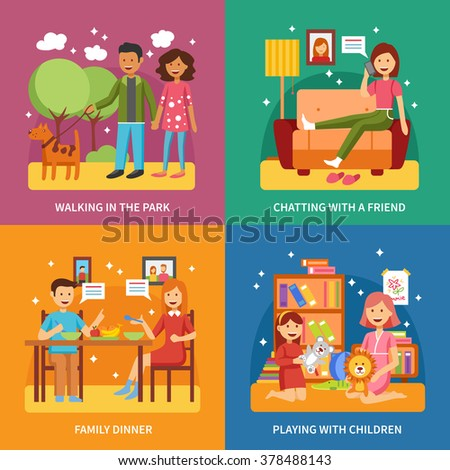 Family concept four square icons abstract composition set vector illustration - stock vector