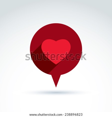 Family consultation symbol, speech bubble with love sign, valentine heart icon. Romantic conversation, chat on relationship theme. - stock vector