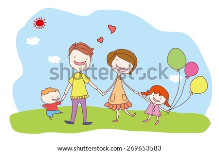 Family day. Happy family outing. Family fun in the sunny day. - stock vector