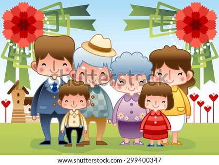 Family Day - smiling mom and dad, kind grandma and grandpa, lovely girl and boy take a photo together with standing pose on background with sunny bright blue sky and field grass : illustration - stock vector