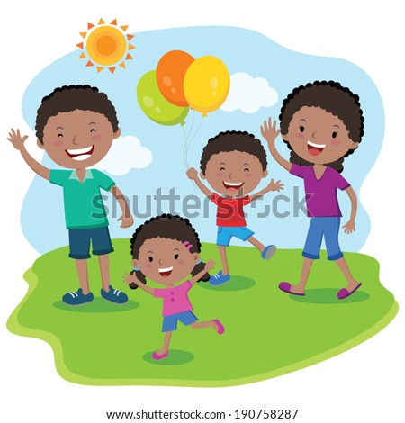 Family day summer vacation. Happy family outing, fun in the sunny day! - stock vector