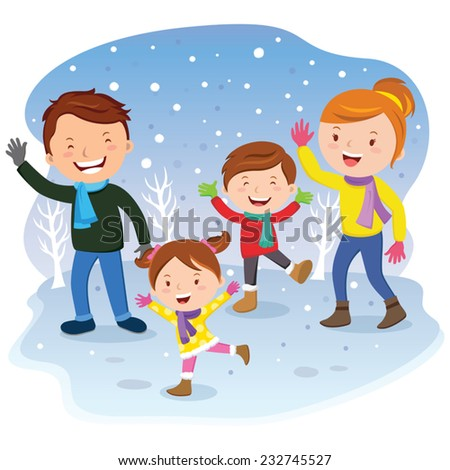 Family day. Winter vacation. Cheerful family having fun in the snow. - stock vector