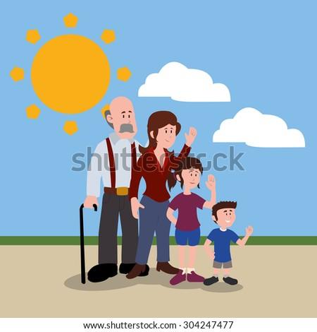 Family digital design, vector illustration 10 eps graphic - stock vector