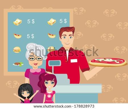 Family dinner at the bar - stock vector