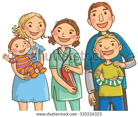 Family doctor and family. Isolated objects on white background. Great illustration for school books. magazines, advertising and more. VECTOR. - stock vector