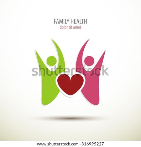 Family doctor logo or family health concept icon art - stock vector