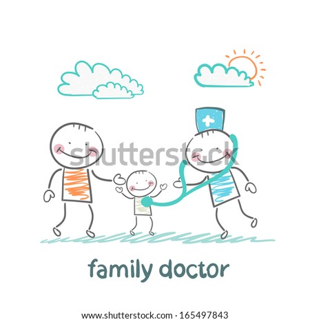 family doctor treats the father and his child - stock vector