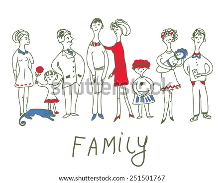 Family event - funny sketch illustration with dog - stock vector