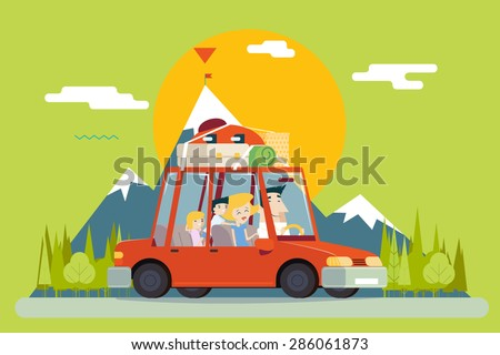 Family Father Mother Son Daughter Travel Lifestyle Concept of Planning Summer Vacation Tourism and Journey Symbol Car Forest City Modern Flat Design Icon Template Vector  - stock vector