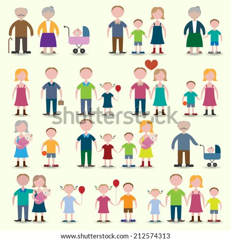 Family figures icons set of parents children couple isolated vector illustration - stock vector