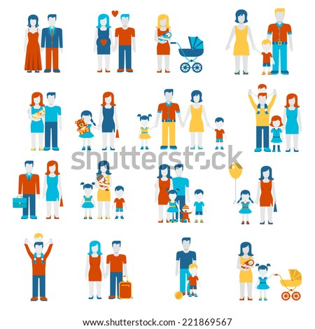 Family flat style people figures parenting parents children kids son daughter couple wife husband boy girl infant infographics user interface profile icons set isolated vector illustration collection - stock vector