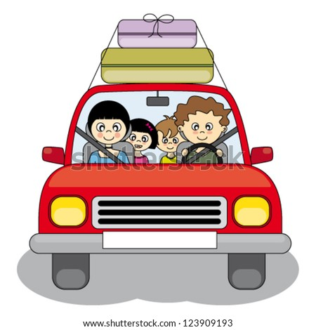 Family goes on holiday by car - stock vector
