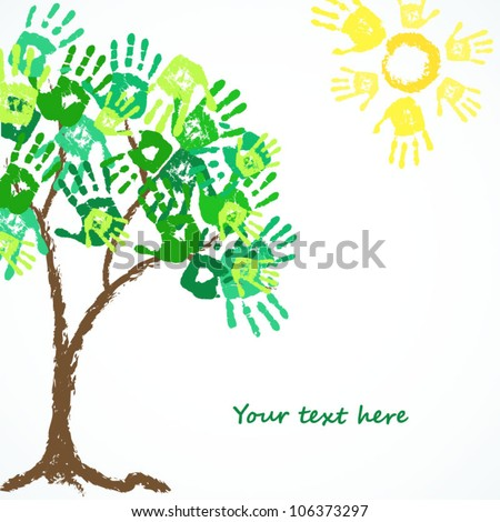 family hand print of nature - stock vector