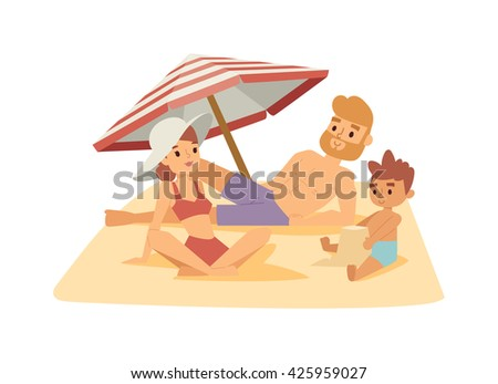 Family having fun on beach and happy family on beach. Summer vacation family on beach and summer parasol family on beach. Vacation summer people sea, happy mother with kid travel outside. - stock vector