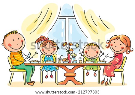 Family having meal together - stock vector