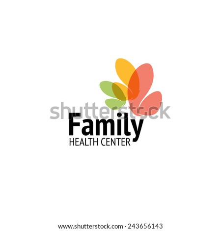 Family health center logo design vector template. Colorful butterflies icon - stock vector
