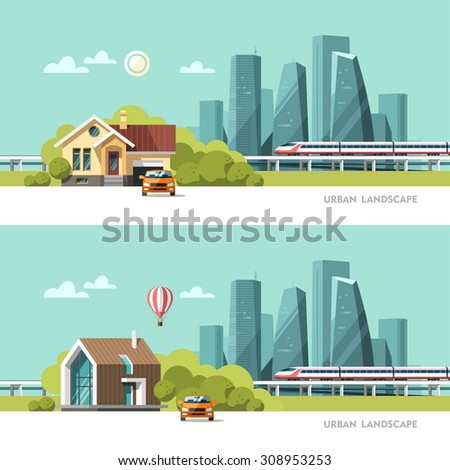 Family home. Traditional and modern house. Cityscape background. Urban landscape. Downtown with skyscrapers and railway. Vector flat illustration. - stock vector