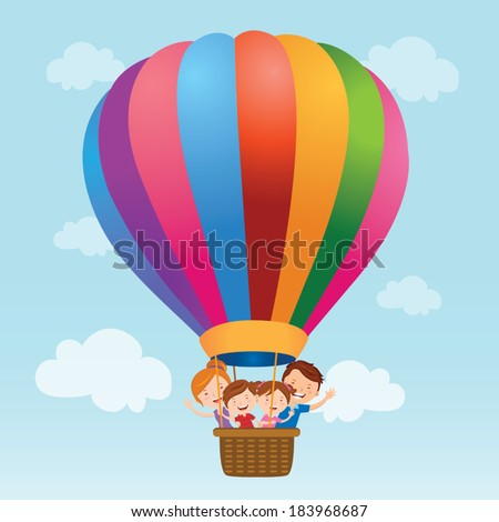 Family hot air balloon ride. Vector illustration of a happy family riding a hot air balloon. - stock vector