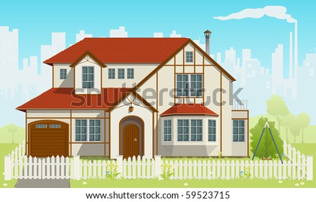 Family House and green grass. Vector illustration. EPS8 - stock vector