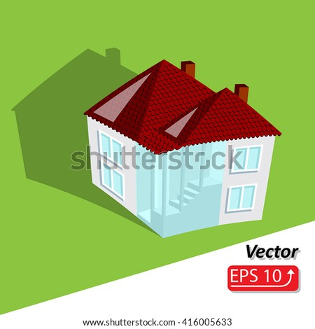 Family house House for rent cartoon 3d isometric icon vector illustration - stock vector