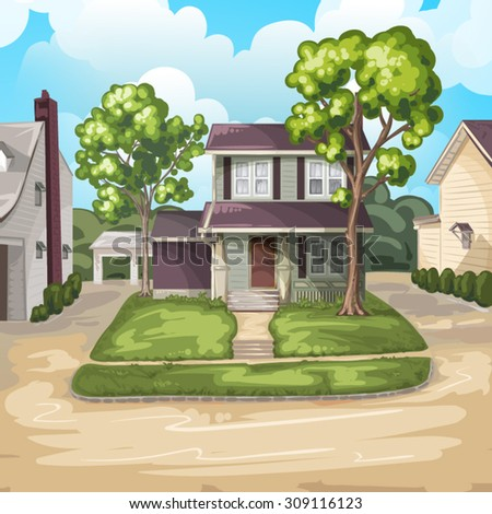 Family House on Suburban Residential Estate - stock vector