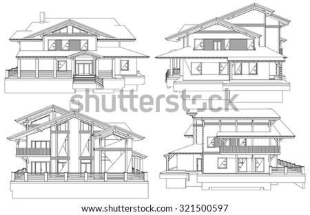 Family House Pespective Vector 06 - stock vector