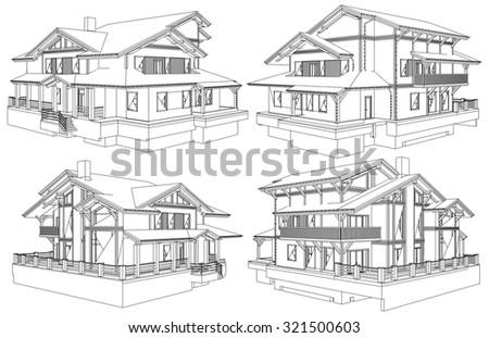 Family House Pespective Vector 05 - stock vector
