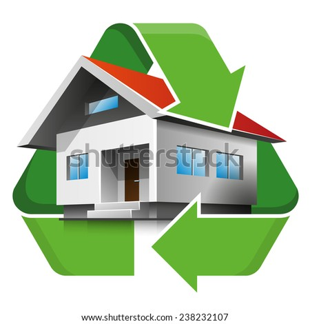 Family house with recycling symbol. Isolated vector illustration. Recycling concept.  - stock vector