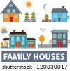 family houses, vector set - stock vector