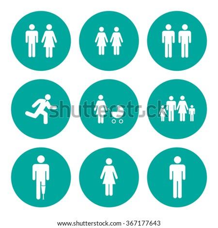 family icon. Flat design style eps 10 - stock vector