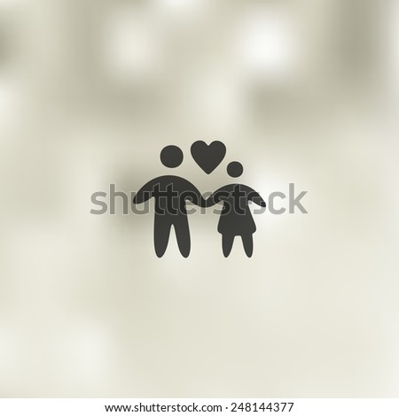 family icon on blurred background - stock vector