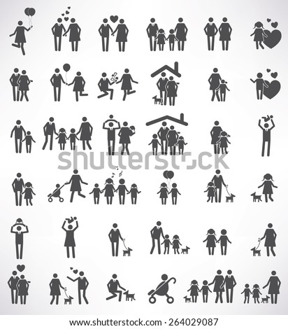 Family icon set,black version,clean vector - stock vector