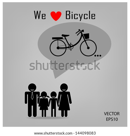 family icon with bicycle concept , clean energy concept ,vector - stock vector