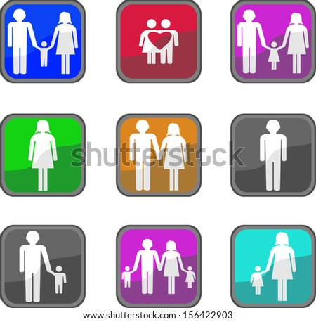 Family Icons - stock vector