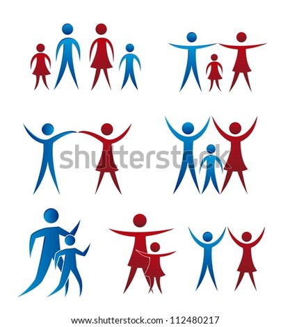 family icons isolated over white background. vector illustration - stock vector