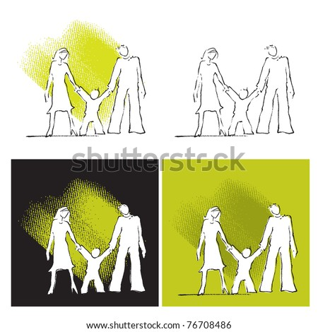 family icons, set - stock vector