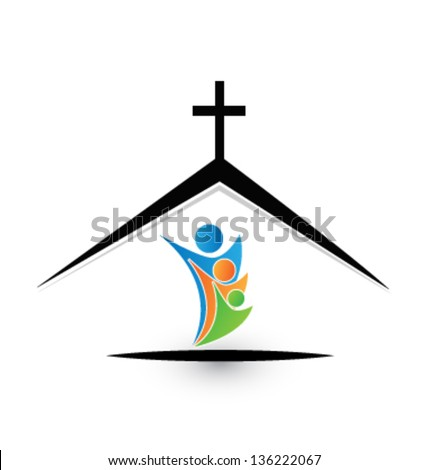 Family in church icon vector - stock vector