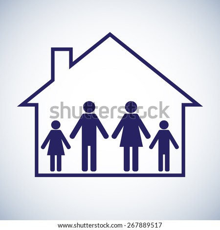 Family in the house. Mother,father and two children. Symbol Icon. Vector illustration - stock vector