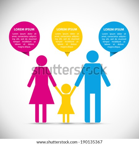 Family infographic icon with text bubbles. - stock vector