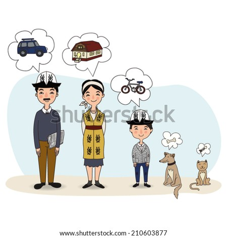 Family is Dreaming about different things / Vector illustration of family, their dog and a cat - stock vector