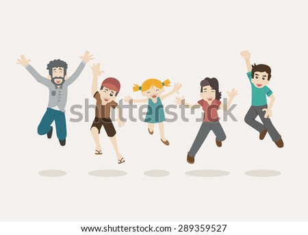 Family  jumping , eps10 vector format - stock vector